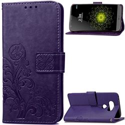 Embossing Imprint Four-Leaf Clover Leather Wallet Case for LG G5 - Purple