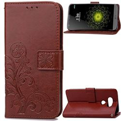 Embossing Imprint Four-Leaf Clover Leather Wallet Case for LG G5 - Brown