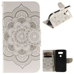 White Flowers PU Leather Wallet Case for LG G5