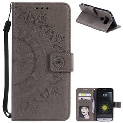 Intricate Embossing Datura Leather Wallet Case for LG G5 - Gray