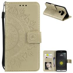 Intricate Embossing Datura Leather Wallet Case for LG G5 - Golden