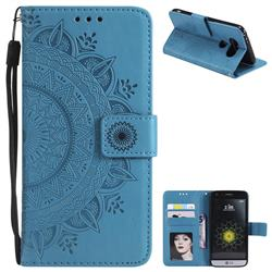 Intricate Embossing Datura Leather Wallet Case for LG G5 - Blue