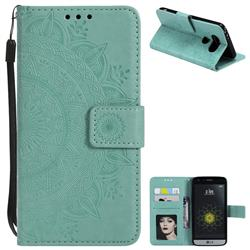 Intricate Embossing Datura Leather Wallet Case for LG G5 - Mint Green