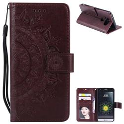Intricate Embossing Datura Leather Wallet Case for LG G5 - Brown