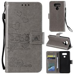 Embossing Owl Couple Flower Leather Wallet Case for LG G5 - Gray