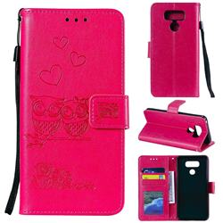 Embossing Owl Couple Flower Leather Wallet Case for LG G5 - Red