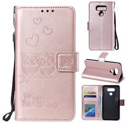 Embossing Owl Couple Flower Leather Wallet Case for LG G5 - Rose Gold