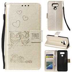 Embossing Owl Couple Flower Leather Wallet Case for LG G5 - Golden