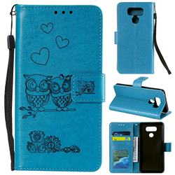 Embossing Owl Couple Flower Leather Wallet Case for LG G5 - Blue