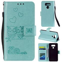 Embossing Owl Couple Flower Leather Wallet Case for LG G5 - Green