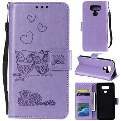 Embossing Owl Couple Flower Leather Wallet Case for LG G5 - Purple