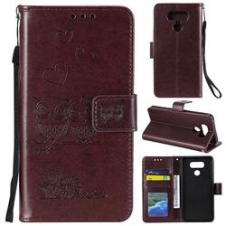 Embossing Owl Couple Flower Leather Wallet Case for LG G5 - Brown