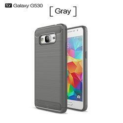 Luxury Carbon Fiber Brushed Wire Drawing Silicone TPU Back Cover for Samsung Galaxy Grand Prime G530 (Gray)