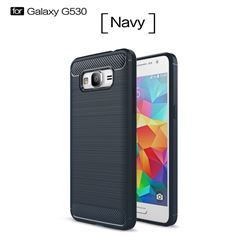 Luxury Carbon Fiber Brushed Wire Drawing Silicone TPU Back Cover for Samsung Galaxy Grand Prime G530 (Navy)