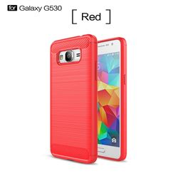 Luxury Carbon Fiber Brushed Wire Drawing Silicone TPU Back Cover for Samsung Galaxy Grand Prime G530 (Red)