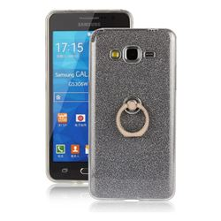Luxury Soft TPU Glitter Back Ring Cover with 360 Rotate Finger Holder Buckle for Samsung Galaxy Grand Prime G530 - Black