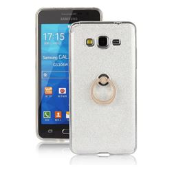 Luxury Soft TPU Glitter Back Ring Cover with 360 Rotate Finger Holder Buckle for Samsung Galaxy Grand Prime G530 - White