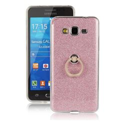 Luxury Soft TPU Glitter Back Ring Cover with 360 Rotate Finger Holder Buckle for Samsung Galaxy Grand Prime G530 - Pink