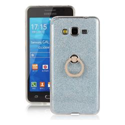 Luxury Soft TPU Glitter Back Ring Cover with 360 Rotate Finger Holder Buckle for Samsung Galaxy Grand Prime G530 - Blue