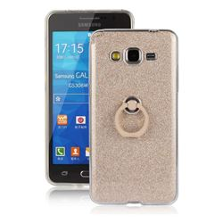 Luxury Soft TPU Glitter Back Ring Cover with 360 Rotate Finger Holder Buckle for Samsung Galaxy Grand Prime G530 - Golden