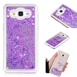 Glitter Sand Mirror Quicksand Dynamic Liquid Star TPU Case for Samsung Galaxy Grand Prime G530 - Purple