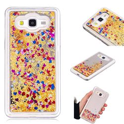 Glitter Sand Mirror Quicksand Dynamic Liquid Star TPU Case for Samsung Galaxy Grand Prime G530 - Yellow