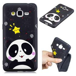 Cute Bear 3D Embossed Relief Black TPU Cell Phone Back Cover for Samsung Galaxy Grand Prime G530