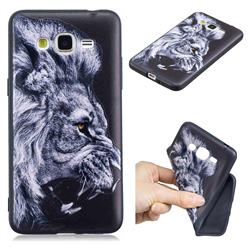 Lion 3D Embossed Relief Black TPU Cell Phone Back Cover for Samsung Galaxy Grand Prime G530