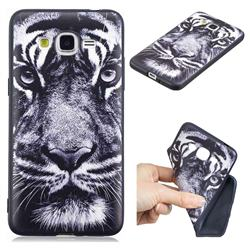 White Tiger 3D Embossed Relief Black TPU Cell Phone Back Cover for Samsung Galaxy Grand Prime G530