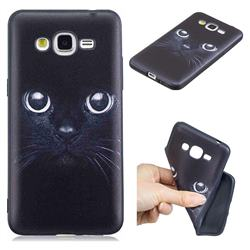 Bearded Feline 3D Embossed Relief Black TPU Cell Phone Back Cover for Samsung Galaxy Grand Prime G530