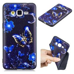 Phnom Penh Butterfly 3D Embossed Relief Black TPU Cell Phone Back Cover for Samsung Galaxy Grand Prime G530