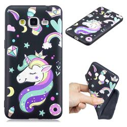 Candy Unicorn 3D Embossed Relief Black TPU Cell Phone Back Cover for Samsung Galaxy Grand Prime G530