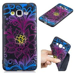 Colorful Lace 3D Embossed Relief Black TPU Cell Phone Back Cover for Samsung Galaxy Grand Prime G530