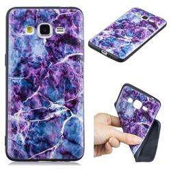 Marble 3D Embossed Relief Black TPU Cell Phone Back Cover for Samsung Galaxy Grand Prime G530