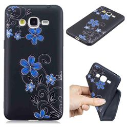 Little Blue Flowers 3D Embossed Relief Black TPU Cell Phone Back Cover for Samsung Galaxy Grand Prime G530