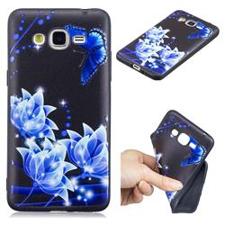 Blue Butterfly 3D Embossed Relief Black TPU Cell Phone Back Cover for Samsung Galaxy Grand Prime G530