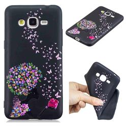 Corolla Girl 3D Embossed Relief Black TPU Cell Phone Back Cover for Samsung Galaxy Grand Prime G530