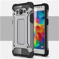 King Kong Armor Premium Shockproof Dual Layer Rugged Hard Cover for Samsung Galaxy Grand Prime G530 - Silver Grey