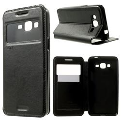 Roar Korea Noble View Leather Flip Cover for Samsung Galaxy Grand Prime G530 G530H - Black