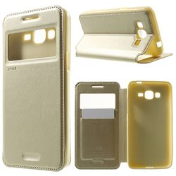 Roar Korea Noble View Leather Flip Cover for Samsung Galaxy Grand Prime G530 G530H - Champagne