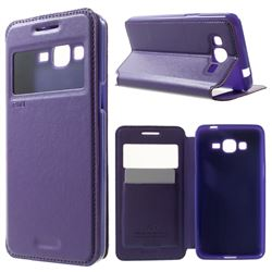 Roar Korea Noble View Leather Flip Cover for Samsung Galaxy Grand Prime G530 G530H - Purple