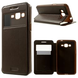 Roar Korea Noble View Leather Flip Cover for Samsung Galaxy Grand Prime G530 G530H - Brown