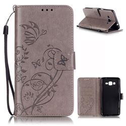 Embossing Butterfly Flower Leather Wallet Case for Samsung Galaxy Grand Prime G530 - Grey