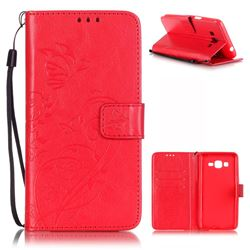 Embossing Butterfly Flower Leather Wallet Case for Samsung Galaxy Grand Prime G530 - Red