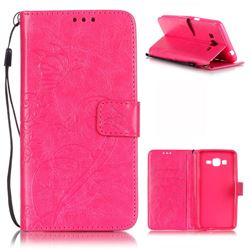 Embossing Butterfly Flower Leather Wallet Case for Samsung Galaxy Grand Prime G530 - Rose