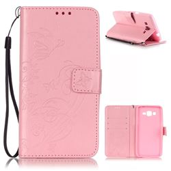 Embossing Butterfly Flower Leather Wallet Case for Samsung Galaxy Grand Prime G530 - Pink