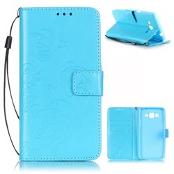 Embossing Butterfly Flower Leather Wallet Case for Samsung Galaxy Grand Prime G530 - Blue