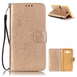Embossing Butterfly Flower Leather Wallet Case for Samsung Galaxy Grand Prime G530 - Champagne