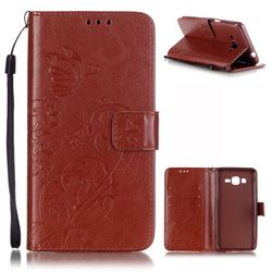 Embossing Butterfly Flower Leather Wallet Case for Samsung Galaxy Grand Prime G530 - Brown