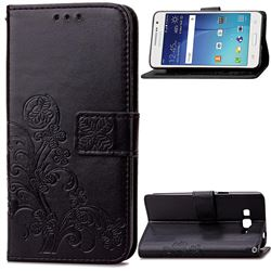 Embossing Imprint Four-Leaf Clover Leather Wallet Case for Samsung Galaxy Grand Prime G530 - Black